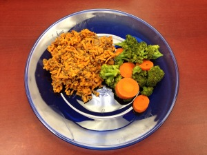 Grated yam, ground beef, carrots, and broccoli.